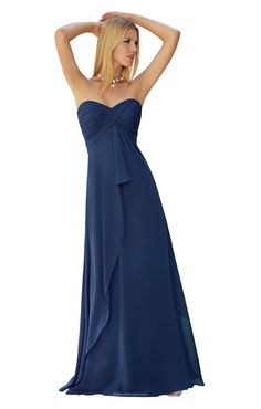 Simple blue long chiffon bridesmaid dress features strapless sweetheart neck with hand made ruched details, long chiffon skirt flares from empire waist.