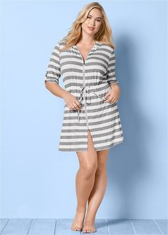 Stripes send classic and sunny vibes this way! This Plus Size Zip Front Hooded Cover-Up Dress is perfect for a beach day. Dresses For Sale, Dresses For Work, Summer Dresses, Dresser, Blue Jean Dress, Bathing Suit Dress, Suit Covers, Hooded Dress, Clothing Sites
