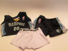 """MEMPHIS GRIZZLES BASKETBALL  3-PC. """"OUTFIT""""  FOR-Build A Bear FITS 16"""" BEAR #AllOccasion"""
