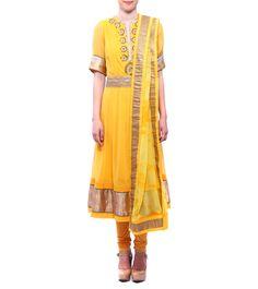 Shades Of Yellow Georgette & Chiffon Anarkali With Churidars & Dupatta #indianroots #ethnicwear #anarkali #churidar #dupatta #georgette #chiffon #occasionwear #summerwear #eveningwear