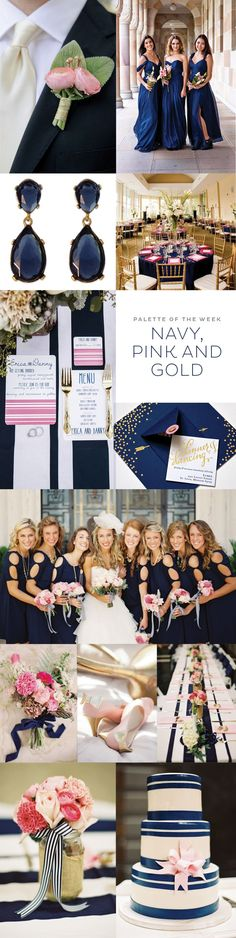 Navy, Pink, & Gold Decorate and style outside the lines at your party or reception table setting with these totally chic Striped Table Runners, available in 5 tasteful colors! With it