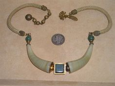 Vintage Miriam Haskell Egyptian Necklace With Real Onyx And Jade Rare 1970's Choker Signed Jewelry 2163 by drjewelsvern on Etsy https://www.etsy.com/listing/208245559/vintage-miriam-haskell-egyptian-necklace