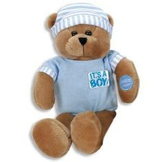 11 Singing IT'S a BOY PLUSH Teddy BEAR/Sings HUSH Little BABY/On-Off Button/BABY SHOWER/CHRISTENING GIFT/KEEPSAKE/BLUE/Musical TOY/INFANT