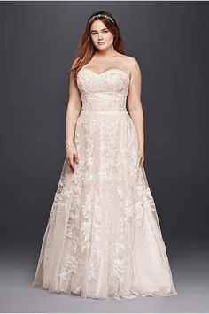 LOVE! Oleg Cassini Plus Size Organza 3/4 Wedding Dress - Davids Bridal