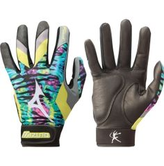 Engineered specifically for the competitive female athlete, the Mizuno® Women's Finch Premier Batting Gloves are eye-catching gloves endorsed by softball legend, Jennie Finch. The Mizuno® Finch tie-dye batting gloves feature padded Shockpalm™ technology for advanced protection and comfort. The ergonomic cut replicates natural movements of the hand, while FlexMesh™ material provides better range of motion.