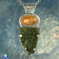 Sunstone & Raw Moldavite Gemstone Pendant by ArkadiaCollection