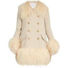 Sonia Rykiel Wool-crepe and lamb-fur coat ($2,556) ❤ liked on Polyvore featuring outerwear, coats, cream, fur trim coats, heavy coat, cream wool coat, fur coat and wool fur coat