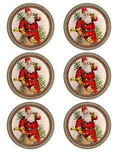 """Yes, Virginia, there is a Santa Claus... Vintage Santa printable ~ 6 round graphics approx. 3.5"""" Christmas Plates, Christmas Minis, Christmas Pictures, All Things Christmas, Vintage Christmas, Christmas Holidays, Christmas Crafts, Christmas Ornaments, Christmas Mantles"""
