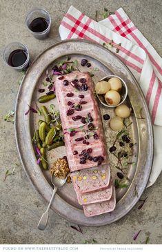 Recipe: Pork Recipes / Pork terrine with port and pistachios - tableFEAST Pate Recipes, Cooking Recipes, Terrine Recipes, Pistachio Recipes, Charcuterie Cheese, Mousse, Tapas, Pork Dishes, Appetisers