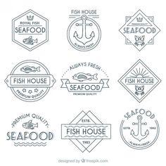 Freepik.com free graphic resources for designers Word Design, Life Design, Icon Design, Fish And Chip Shop, Nautical Outfits, Fish Vector, Personal Logo, Logo Restaurant, Design Graphique
