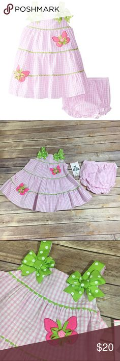 NEW NWT Rare Editions Butterfly Applique Dress 24m NEW NWT Rare Editions Butterfly Applique Seersucker Dress 24 Mo  * Dress and Panty: 55% Cotton, 45% Polyester; Lining: 80% Polyester, 20% Cotton * Imported * Machine Wash * Applique and bow details * Button back #new #nwt #pink #seersucker #butterfly #butterflies #dress #itsadress #spring #summer #easter #stripe #stripes #striped Rare Editions Dresses
