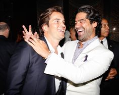 Jake Deutsch and Brian Atwood share a laugh during Brian's #NYFW kick-off party at the Four Seasons. #BrianAtwood