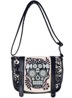 Memento Mori Sugar Skull Bag by Loungefly, BLACK, handbags,shoulder bags,sugar skull bag,skull accessories,punk handbag