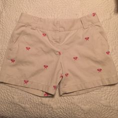 """J. Crew Embroidered Chino Shorts These light khaki-colored chino shorts are adorned with hot pink embroidered tennis rackets. They have a 3"""" inseam and are CityFit cut. J. Crew Shorts"""