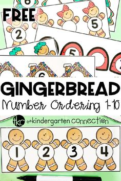 Christmas math - FREE Gingerbread Number Order Activity for Winter Math Centers – Christmas math Preschool Themes, Preschool Math, Kindergarten Activities, Kindergarten Freebies, Preschool Projects, Fun Activities, Christmas Math, Preschool Christmas, Christmas Activities
