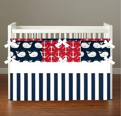 Nautical Navy Red Whale Crib Bedding