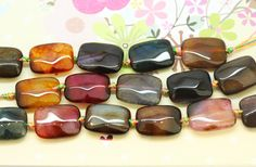 Veined Agate Multi Coloured Rectangles 18x 14 mm / TOP Quality beads / Faceted…