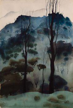 Eyvind Earle Watercolor Landscape 1951