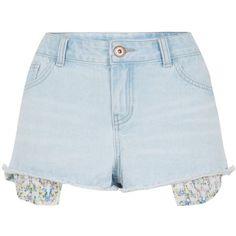 Light Blue Floral Print Drop Pocket Denim Hot Pants (€8,15) ❤ liked on Polyvore featuring shorts, bottoms, short, pants, wedgewood blue, denim short shorts, short jean shorts, mini shorts, blue jean shorts and denim shorts