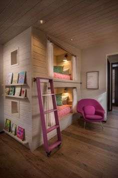 A Frame Remodel Sun Valley, ID - rustic - kids - boise - Jennifer Hoey Interior Design - - perfect bunk room design for the grands Girls Bunk Beds, Kid Beds, Twin Girls, Girls Club, Baby Girls, Teenage Girl Bedrooms, Girls Bedroom, Childrens Bedroom, Bedroom 2018
