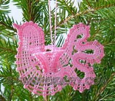SKU 10477 Battenberg Lace Doves Ornaments