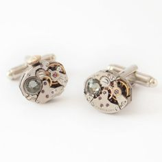Oval watch parts cufflinks, men jewellery, clockwork cufflinks, groomsmen cuff links