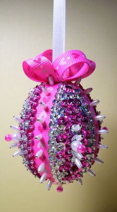 Pink and Sliver Sequined Easter Egg Ornament by Ornament Designs