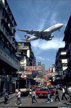 Lufthansa Boing 747 landing at old airport Hong Kong....