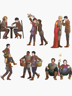 Buy 'Merlin & the Knights sticker set' by calamityannie as a Sticker, Transparent Sticker, or Glossy Sticker Merlin Show, Merlin Fandom, Merlin Cast, Merlin Memes, Merlin Funny, Merlin Quotes, Sherlock Quotes, Watson Sherlock, Sherlock John
