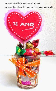 Manualidades corazones en vasitos para regalar : cositasconmesh
