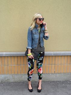 Rebel. ... love it. Floral pant+ stripd tee+ jean jacket