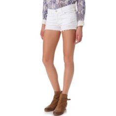 J Brand Denim shorts Distressed, low-rise, white, preform but in great condition! J Brand Shorts Jean Shorts