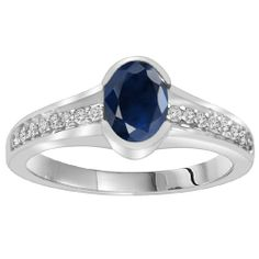 14k White Gold and Oval Blue Sapphire (1 cttw, H-I Color, I1 Clarity) Bridal Ring with Diamond Accents
