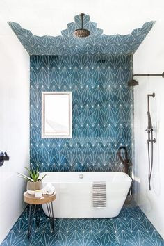 This Kids' Is So Chic That Even Adults Will Be Jealous, boho bathroom with bold tile, bole blue geometric tile in bathroom design with modern slipper tub, modern free standing bathtub in bold modern bathroom, fun kid bathroom design with blue tile Bad Inspiration, Bathroom Inspiration, Home Deco, Style At Home, Design Case, Pop Design, Sketch Design, Graphic Design, Bathroom Interior Design