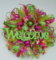 Ruffle Metallic Deco Mesh Summer Party Wreath by WredWrockWreaths, $95.00