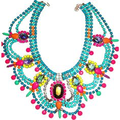 One of a Kind Neon Handpainted Vintage Rhinestone Necklace - Example