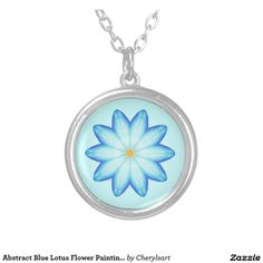Abstract Blue Lotus Flower Painting Necklace by #CherylsArt at Zazzle.