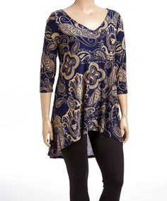 Look what I found on #zulily! Navy & Tan Paisley Hi-Low Tunic - Plus #zulilyfinds