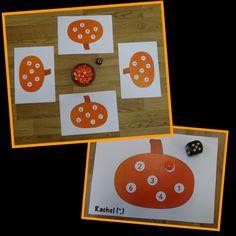 "Pumpkin game (free printable) from Rachel ("",) Halloween Theme Preschool, Halloween Week, Halloween Math, Halloween Activities, Halloween Themes, Autumn Activities For Kids, Crafts For Kids, Pumpkin Games, Pumpkin Soup"