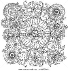 Contoured mandala shaped flowers and butterflies for adult coloring book or art therapy style zen drawing. Hand-drawn, stylish doodle in tatto…