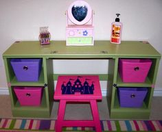 DIY Desk Vanity   I d choose different colors and I need a freeLittle girl s vanity mirror from kidcraft  But I think this could  . Diy Vanity For Little Girl. Home Design Ideas
