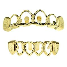 Diamond-Cut Grillz Set 14K Gold Plated 4 Open Face Top & Bottom Teeth Hip Hop Grills by Best Grillz -- Awesome products selected by Anna Churchill