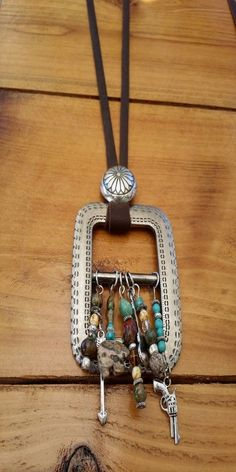 Belts 2017 ***** CLICK Visit link above for more details minus the gun. Vintage Jewelry Crafts, Recycled Jewelry, Old Jewelry, Leather Jewelry, Beaded Jewelry, Jewelery, Handmade Jewelry, Jewelry Making, Jewelry Ideas