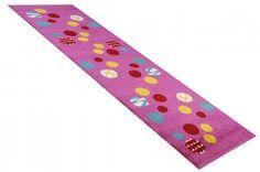 Kinderteppich Läufer Animaldots pink in 80 x 250