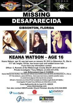 1/28/2015: Keana Watson, age 16, is #missing from Gibsonton, Florida.