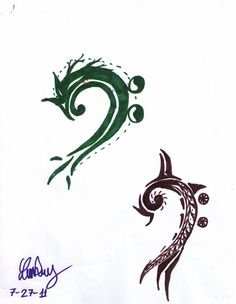 bass clef + dragon = awesome So much like my current tattoo