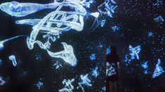 Floating in the Falling Universe of Words - Immersive Room   teamLab / チームラボ