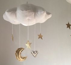 Moon, Heart and Star Cloud Mobile