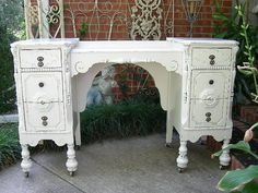 CUSTOM Shabby Chic Antique DESK - Not New Is Old Furniture Hand Painted We Find and Refinish For YOU via Etsy