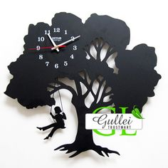 Tree Swing Girl Pendulum Unique Wall Clock Gift